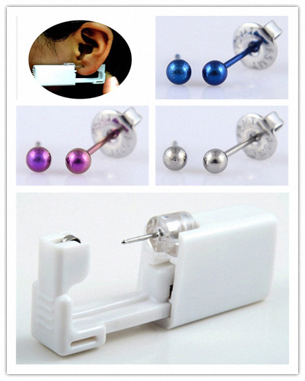 Disposable Ear Piercing Unit with Titanium Ball Earrings