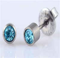 Titanium Earrings in Bezel Birthstone colors